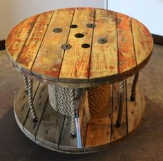 Upcycled Cable Spool Coffee Table // Library // Storage by AaCcBb