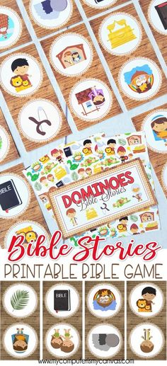Printable Bible Stories Game, DOMINOES - Great for FHE, Sunday School or just for fun! Christian Game, Activity - Family Game Night #mycomputerismycavnas