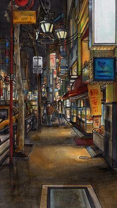 Urban drawing iPhone 6 Wallpaper