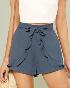 Ruffle Trim Self Belted Shorts - www.anabellas.co #anabellas #shorts #lazo #zipper #volantes | WWW.ANABELLAS.CO