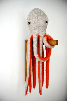 Love these BigStuffeds sea animals, made in Paris. This small octopus is the colorful of the BigStuffeds family, a crazy little one with a very big hurt... Made from 100% fine soft wool (top) and 100%