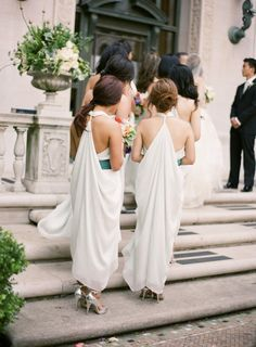 bridesmaid dresses with a gorgeous grecian drape by Love to Talk  Photography by tanjalippertphotography.com