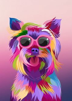 yorkie pop art poster by from collection. By buying 1 Displate, you plant 1 tree. Dog Pop Art, Pop Art Posters, Colorful Animals, Dog Portraits, Print Artist, Cool Artwork, Watercolor Art, Your Pet, Graphic Art