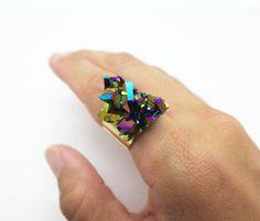 Aura Quartz Ring  Titanium Druzy Ring  Aura Quartz door toccarocks