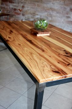 Rustic Hickory Table Top - for desk Hickory Furniture, Rustic Furniture, Hickory Kitchen, Slab Table, Wood Tables, Dining Room Table, Table Lamp, Kitchen Tables, Industrial