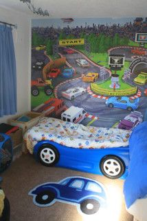 Racing car themed boys bedroom
