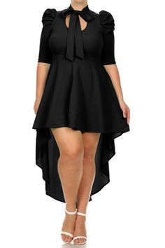 Plus Size Pretty Keyhole Chest Bow Dip Hem Dress