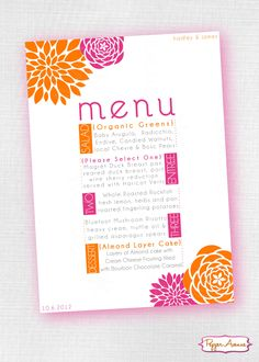 Pink and Orange Party Invite and/or Wedding Menu www.facebook.com/PepperAvenue#!/PepperAvenue