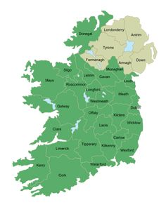 Irish map with meanings of county names. Loved Dublin and Naas, Kildare. Highly recommend the Four Seasons in Dublin! Irish Language, Thinking Day, Emerald Isle, Donegal, Ireland Travel, Ireland Vacation, British Isles, Northern Ireland, Ancestry
