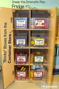 FREE Kitchen Labels Organizing play food in the Dramatic Play Center (free printable) - Play to Learn Preschool Preschool Rooms, Preschool Centers, Learning Centers, Preschool Activities, Preschool Classroom Setup, Preschool Kitchen Center, Summer Activities, Family Activities, Classroom Ideas