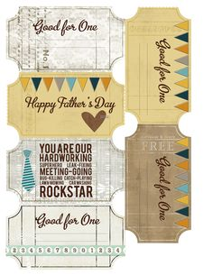 FREE DOWNLOAD - Father's Day Ticket Album - Home - Sprague Lab - Digital and Hybrid Scrapbooking + Notes from JessicaSprague.com + Daily Goodness