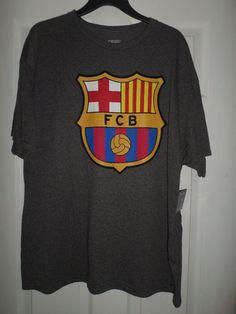 Men's Red, Grey, Blue FCB BARCELONA Big Logo Football Soccer Shirt, Size XL, NWT #FCBBarcelonaOfficialLicensedMerchandise #FCBBarcelona