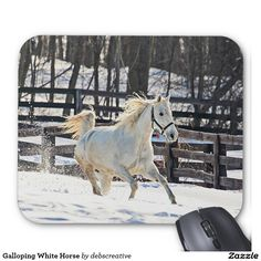 Galloping White Horse Mouse Pad