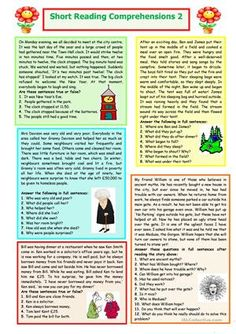 This intermediate worksheet contains five short stories where learners are required to read them carefully to be able to answer the questions that follow correctly. - ESL worksheets