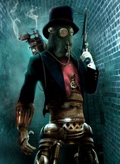 Steampunk Villain by ~BonnySaintANdrew  #Gasmask #Mechanical #Gears