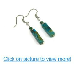 Turquoise Gemstone Column Dangle Earrings, Accented with Green Pearl #Turquoise #Gemstone #Column #Dangle #Earrings #Accented #Green #Pearl