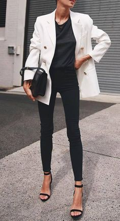 213b233a33b cute office outfit   white blazer bag top heels skinnies Cute Office  Outfits