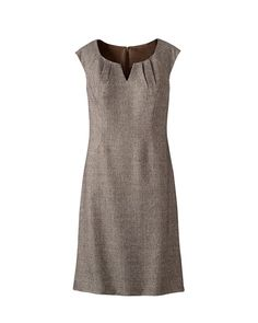 Tweed sheath dress  Was $99.95 - $109.95  |  Now $39.99  Read reviews (5)   |   Write a review  It`s a pleasure to dress for business success in this classic sheath. Expertly styled with soft pleats at the notched neckline and raglan-seam cap sleeves, and princess-seamed to contour the fit. Hidden back zip. Fully lined. Lightweight polyester/rayon, wrinkle-resistant. Dry clean. Imported
