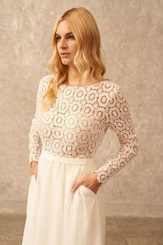 Long Sleeve Wedding Dress High Low Wedding Dress Boho | Etsy