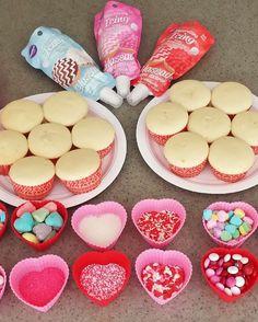 Cupcake decorating at a Valentine's Day party! See more party planning ideas at CatchMyParty.com!