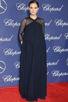 Natalie Portman wore a full-length navy Dior dress - January 2 2017