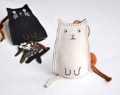 猫のキーケース 白ねこ
