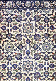 Wall tiling decoration of Qasr Radwan, Cairo, 17th century (The Textile Blog)