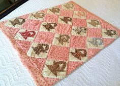 Exceptional Antique Patchwork Crib Doll Quilt Double Pink & Madder Prints 1860's, eBay, antiquesatpiedmontsprings