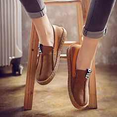 Hot-sale Suede Pure Color Slip On Stitching Flat Soft Shoes For Women - NewChic
