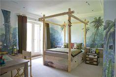 jungle bedroom #trees #bed #murals