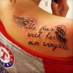 See more She flies with her own wings tattoos on back