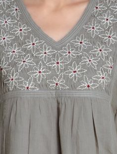 Grey V-Neck Embroidered & Pleated Cotton Kurta by Radha Embroidery On Kurtis, Hand Embroidery Dress, Kurti Embroidery Design, Embroidery Neck Designs, Hand Embroidery Videos, Embroidery On Clothes, Embroidery Suits, Embroidered Clothes, Embroidery Fashion