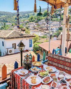 Enjoying a yummy Turkish breakfast in a cute little mountain village 🌿 Turkey Vacation, Turkey Travel, Antalya, Malaga, Ancient City, Turkish Breakfast, Turkish Tea, Sounds Of Birds, Turkey Photos