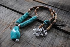 Bohemian turquoise nugget and wood necklace