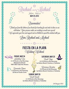 Tulum Mexico Wedding Map Itinerary by cwdesigns2010