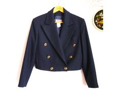 Vintage Blazer cropped 80s military style sailor short maritime style wool CASHMERE blazer navy blue fitted  gold buttons /Small to Medium by SuitcaseInBerlin on Etsy