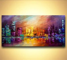 "ORIGINAL City Painting Modern Acrylic Palette Knife Abstract Painting The City by Osnat 48"" x 24"" Large:"