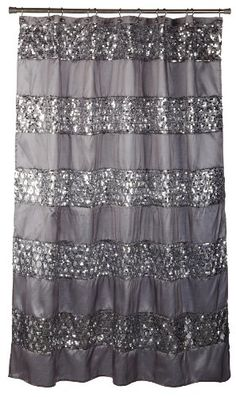 http://theworldepost.com/pinnable-post/popular-bath-sinatra-silver-shower-curtain A bands of silver sequins placed upon a metallic silver shower curtain. This design is a beautiful, chic, fun, update to your modern bathroom. Coordinates with our matching bath accessories, rug and towel set. 100-Percent Polyester. Machine Wash Cold. Hang to dry. Made in China