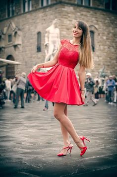 Nameless fashion blog: Red riding hood #red #dress #heels