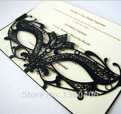 2015 Horizontal Black Mask Laser Cut Wedding Invitations Party Greeting Cards Online with 286.89/Piece on Yourdiycards's Store | DHgate.com