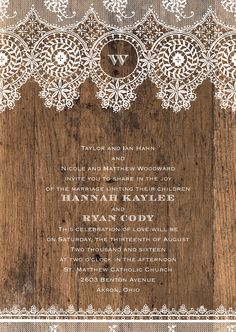 Barnwood & Lace - Rustic Lace Wedding Invitations | Invitations by David's Bridal | Enter the David's Bridal PINvitation Sweepstakes for a chance to win $1,000 to spend on Invitations by David's Bridal! cur.lt/1SVuDiv Sweepstakes ends May 20, 2016. [Promoted Pin]