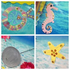 Ocean crafts. Ocean bulletin board. Fish from small paper plate using water colors and embellishments. Starfish (paint with water colors) embellish. Stingray using paper plate and black coffee stirrer for Stinger. Starfish (can paint with water colors) embellish.