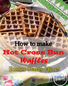 Here's how to make Hot Cross Bun Waffles: take the flavours of a Hot Cross Bun and add to waffle batter, perfect Easter breakfast recipe Easter Breakfast Recipes, Easter Recipes, Summer Recipes, Holiday Recipes, Vegan Breakfast, Egg Recipes, Breakfast Ideas, Waffle Recipes