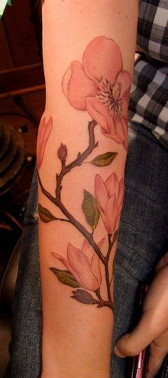 Magnolia sleeve tattoo. - 50+ Magnolia Flower Tattoos  <3 <3