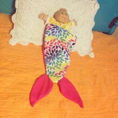 Newborn or Doll Mermaid Tail Blanket on Etsy, $10.00