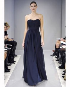 "See the ""Long Navy Bridesmaid Dress"" in our Monique Lhuillier, Fall 2013 Bridesmaid Collection gallery"
