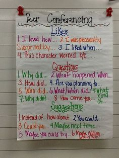 I like these questions to model and guide peer conferencing (which is another great way to cultivate student ownership of learning!).