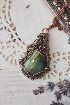 Wire wrapped labradorite necklace Labradorite jewelry Wire