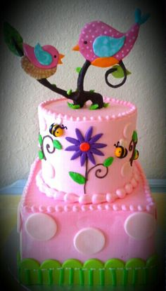 Birds and bees baby shower cake