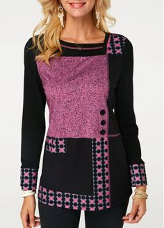 Cheap Women's Casual T Shirts For Women Button Detail Dot Print Long Sleeve T Shirt – L Women's Casual T Shirts For Women Button Detail Do. Stylish Tops For Girls, Trendy Tops For Women, T Shirts For Women, Size Clothing, Silver T Shirts, Cool Outfits, Fashion Outfits, Cheap Clothes, Sewing Projects